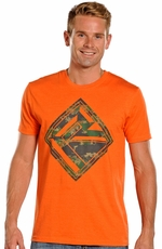 Rock & Roll Cowboy Mens Logo Tee Shirt - Orange