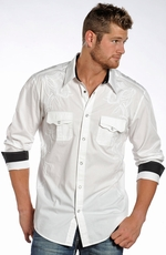 Rock & Roll Cowboy Men's Long Sleeve Embroidered Western Shirt - White (Closeout)