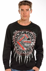 Rock & Roll Cowboy Mens Long Sleeve Logo Shirt - Black (Closeout)