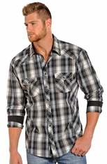 Rock & Roll Cowboy Mens Long Sleeve Plaid Snap Western Shirt - Black (Closeout)