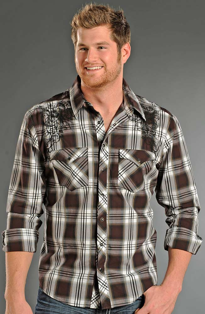 Rock & Roll Cowboy Mens Long Sleeve Plaid Snap Western Shirt - Chocolate (Closeout)