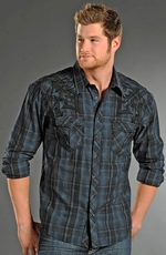 Rock & Roll Cowboy Mens Long Sleeve Plaid Snap Western Shirt - Night Blue