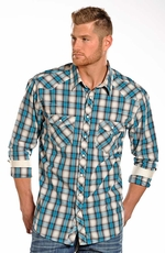 Rock & Roll Cowboy Mens Long Sleeve Plaid Snap Western Shirt - Turquoise