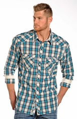 Rock & Roll Cowboy Mens Long Sleeve Plaid Snap Western Shirt - Turquoise (Closeout)
