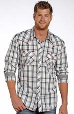 Rock & Roll Cowboy Mens Long Sleeve Plaid Snap Western Shirt - White (Closeout)