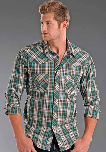 Rock & Roll Cowboy Mens Long Sleeve Plaid Western Snap Shirt - Aquamarine (Closeout)
