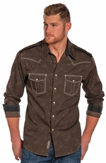 Rock & Roll Cowboy Mens Long Sleeve Print Snap Western Shirt - Brown
