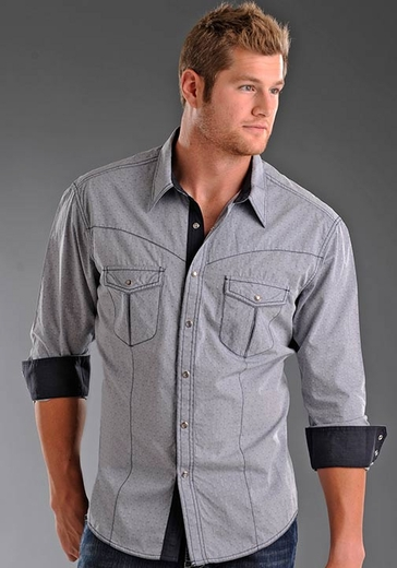 Rock & Roll Cowboy Mens Long Sleeve Solid Western Snap Shirt - Blue Gray (Closeout)