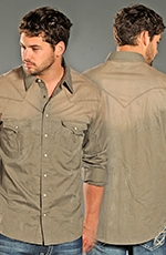 Rock & Roll Cowboy Mens Long Sleeve Spray Dye Snap Western Shirt - Khaki (Closeout)