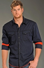 Rock & Roll Cowboy Mens Long Sleeve Stripe Snap Western Shirt - Blue (Closeout)