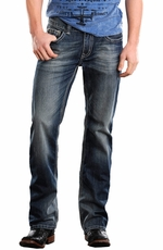 Rock & Roll Cowboy Mens Pistol Slim Fit Jeans - Medium Wash