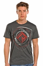 Rock & Roll Cowboy Mens Short Sleeve Logo Shirt - Grey