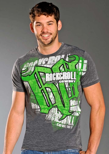 Rock & Roll Cowboy Mens Short Sleeve Logo T-shirt - Grey/Green/White
