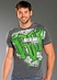 Rock & Roll Cowboy Mens Short Sleeve Logo T-shirt - Grey/Green/White (Closeout)