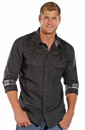 Rock & Roll Cowboy Long Sleeve Embroidered Print Snap Western Shirt - Black