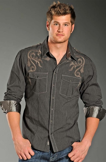 Rock & Roll Cowboy Mens Long Sleeve Narrow Stripe Snap Western Shirt - Grey