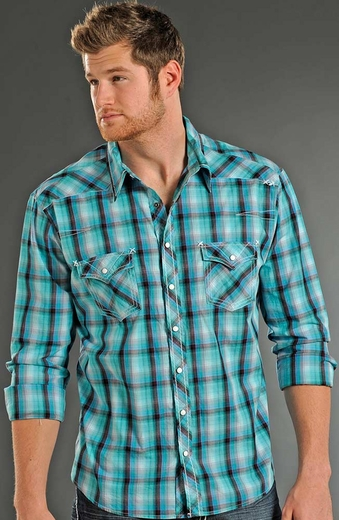 Rock & Roll Cowboy Mens Long Sleeve Plaid Snap Western Shirt - Aqua (Closeout)