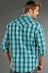 Rock & Roll Cowboy Mens Long Sleeve Plaid Snap Western Shirt - Aqua