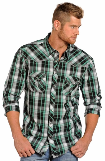 Rock & Roll Cowboy Mens Long Sleeve Plaid Snap Western Shirt - Black