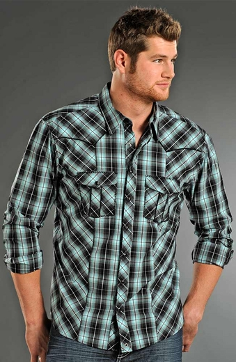 Rock & Roll Cowboy Mens Long Sleeve Plaid Snap Western Shirt - Blue