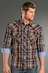 Rock & Roll Cowboy Mens Long Sleeve Plaid Snap Western Shirt - Brown (Closeout)