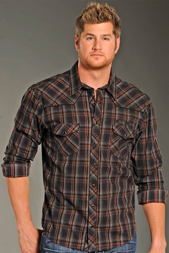 Rock & Roll Cowboy Long Sleeve Plaid Snap Western Shirt - Charcoal (Closeout)