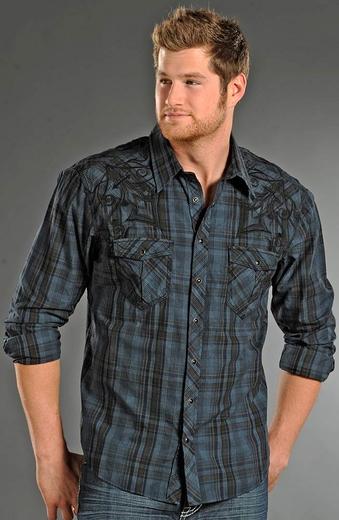 Rock & Roll Cowboy Mens Long Sleeve Plaid Snap Western Shirt - Night Blue (Closeout)