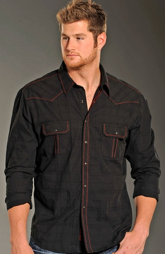 Rock & Roll Cowboy Long Sleeve Saddlestitch Plaid Snap Wesern Shirt - Black (Closeout)