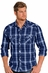 Rock & Roll Cowboy Mens Long Sleeve Print Snap Western Shirt - Light Navy