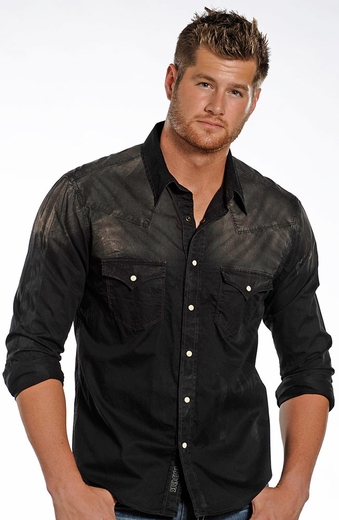 Rock & Roll Cowboy Mens Long Sleeve Spray Dye Snap Western Shirt - Black (Closeout)
