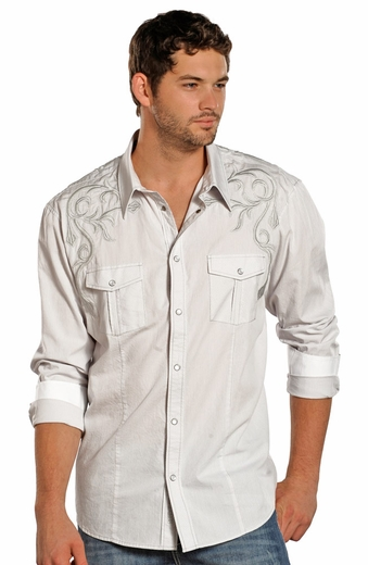 Rock & Roll Cowboy Mens Long Sleeve Stripe Snap Western Shirt