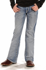 Rock & Roll Cowboy Boys Regular Fit Boot Cut Jeans - Light Vintage Wash (Closeout)