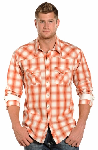 Rock & Roll Cowboy Mens Long Sleeve Plaid Snap Western Shirt - Orange