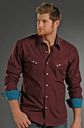 Rock & Roll Cowboy Long Sleeve Solid Snap Western Shirt - Maroon/Teal (Closeout)