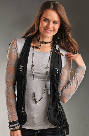Rock & Roll Cowgirl Cowgirl Fringe Vest - Black