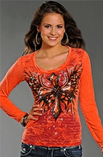 Rock & Roll Cowgirl Cross Burnout Top - Orange
