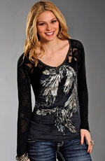 Rock & Roll Cowgirl Feather and Lace Long Sleeve Top - Charcoal