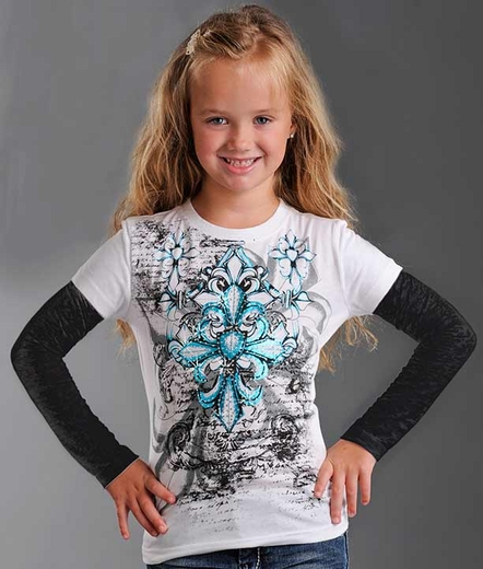 Rock & Roll Cowgirl Girl's 2-Fer Tee Shirt with Burnout Long Sleeves - White/ Black (Closeout)
