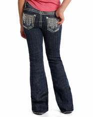 Rock & Roll Cowgirl Girl's Boot Cut Jeans - Dark Vintage