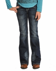 Rock & Roll Cowgirl Girl's Embroidered Boot Cut Jeans - Dark Vintage (Closeout)