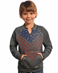 Rock & Roll Cowgirl Girl's Flag Sweatshirt - Grey (Closeout)