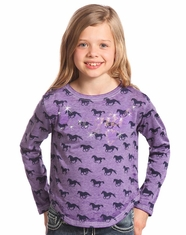 Rock & Roll Cowgirl Girl's Long Sleeve Cowgirl Print Top - Purple (Closeout)