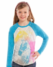 Rock & Roll Cowgirl Girl's Long Sleeve Horse Print Tee Shirt - Turquoise