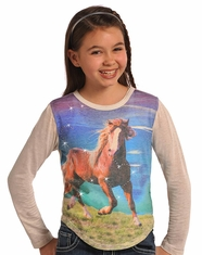 Rock & Roll Cowgirl Girl's Long Sleeve Rhinestone Horse Tee Shirt - Eggshell (Closeout)