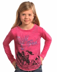 Rock & Roll Cowgirl Girl's Long Sleeve Wild and Free Top - Hot Pink (Closeout)