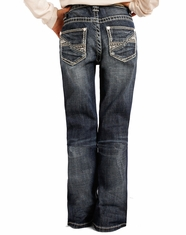 Rock & Roll Cowgirl Girl's Low Rise Boot Cut Jeans - Medium Wash