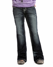 Rock & Roll Cowgirl Girl's Low Rise Slim Fit Boot Cut Jean - Dark Vintage (Closeout)