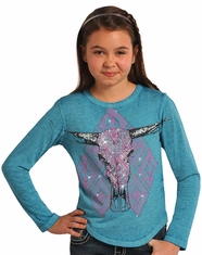 Rock & Roll Cowgirl Girl's Rhinestone Steerhead Shirt - Turquoise (Closeout)