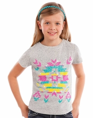 Rock & Roll Cowgirl Girl's Short Sleeve Aztec Print Tee Shirt - Grey (Closeout)