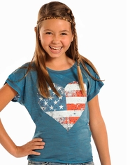 Rock & Roll Cowgirl Girl's Short Sleeve Heart Flag Tee Shirt - Steel (Closeout)
